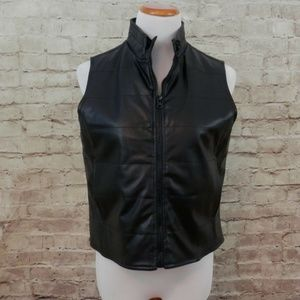 Black Quilted Lined Faux Leather Womens Small Vest